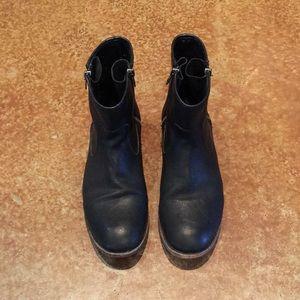 Frye Ethan double zip black ankle booties